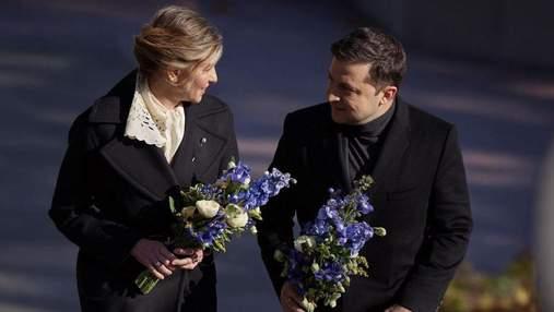 Елена Зеленская в черном пальто и молочном платье побывала на Черкасщине: фото с мужем